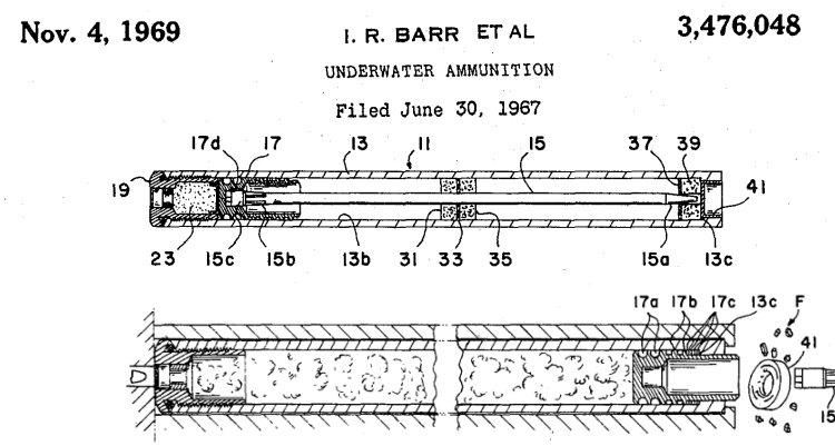 patent diagram for ammunition for Mk.1 Mod.0 Underwater Defense Gun
