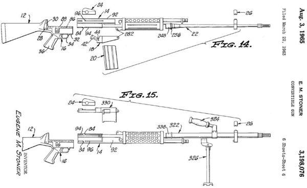 stoner 63 modern firearmsdiagram from original us patent, granted to eugene stoner for design of stoner 62