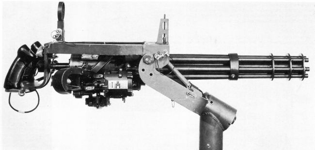 General Electric M134 Minigun machine gun of Vietnam war (late 1960s) era, on pedestal mount.