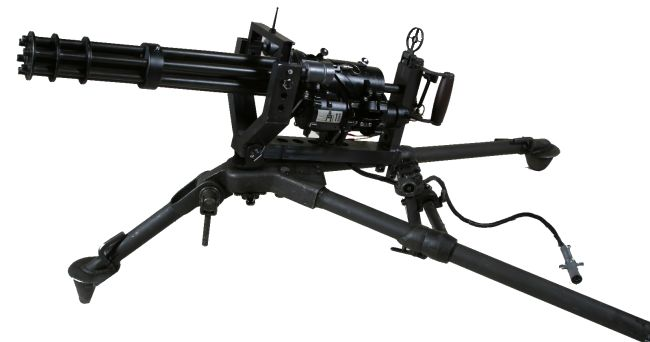 M134 Minigun on infantry type tripod, as often seen on civilian entertainment events such as Knob Creek machine gun shot in USA.