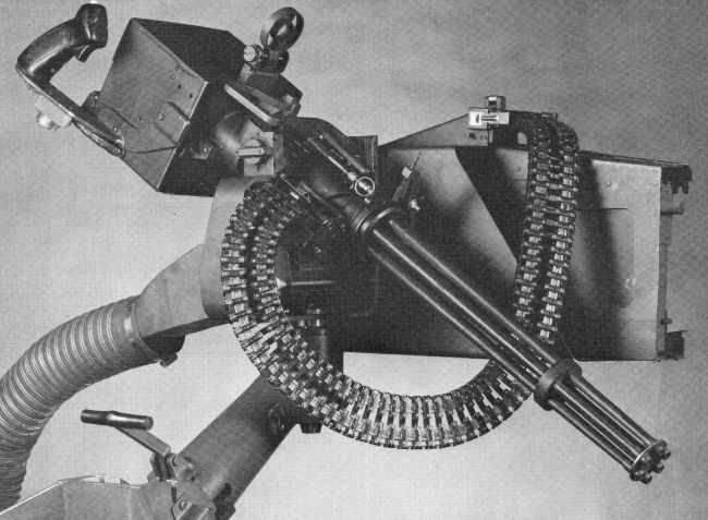XM-214 'Microgun' Gatling-type machine gun on pillar-type helicopter mount.