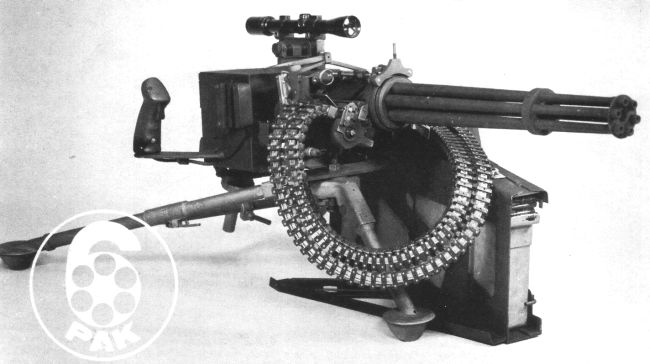 XM-214 'Microgun' Gatling-type machine gun on M122 infantry tripod, with container that holds 1,000 rounds of ammunition (Promotional poster from General Electric Co, early 1980s).