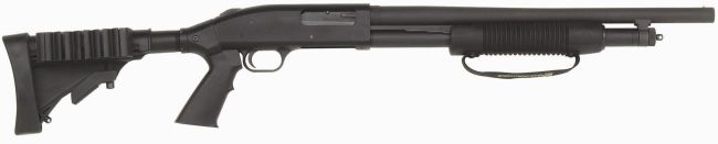 Mossberg 500 Tactical shotgun, with 5-shot magazine and adjustable stock.