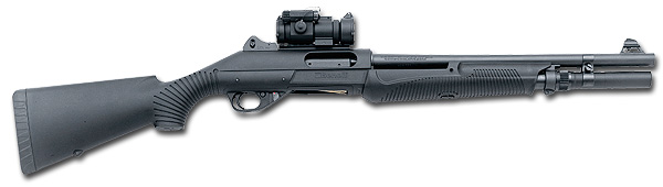 Benelli 'Nova' tactical shotgun with Aimpoint red-dot sight and extended magazine.