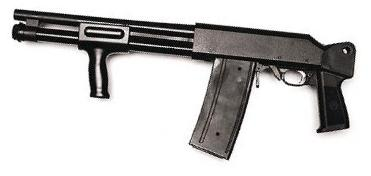 "Valtro PM-5-350 with shortened barrel, ""assault"" forward grip / forendand folding stock removed."