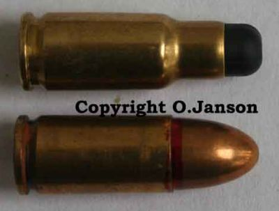 CBJ-MS PDW / Submachine gun6.5x25 ammunition (top) compared to standard 9x19 Luger /Parabellum / NATO round (bottom).