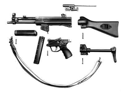 HK MP-5 field-stripped. Note that both types of stocks are shown - fixed A2 typeand retractable A3 type.