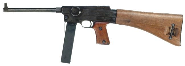 MAS-38 submachine gun, left side.