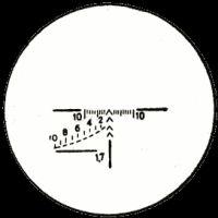 Вид прицельной сетки прицелаПСО-1, используемого на винтовке СВД. Шкала в нижнем левом квадранте служит для определения дальности (в сотнях метров) до цели высотой 1.7метра.