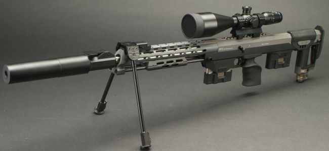The DSR-1 sniper rifle with quick-detachable tactical silencer.