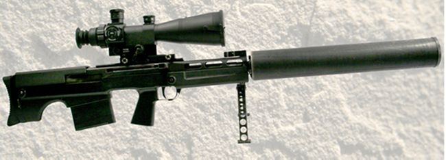 "12.7mm VKs / VSSK ""Vychlop"" large caliber silenced sniper rifle, with integral bipod and silencer, right side."