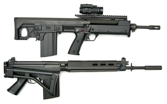 Kel-tec RFB 'Carbine' with 18-inch barrel, 20-round magazine and red-dot sight, compared to FN FAL Para rifle.
