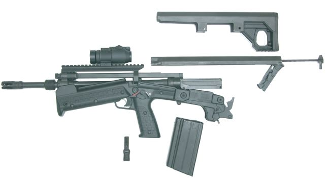 Kel-tec RFB rifle partially disassembled.