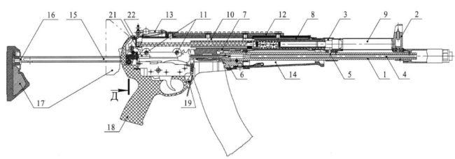 cross-sectional diagram for A-545 balanced action assault rifle