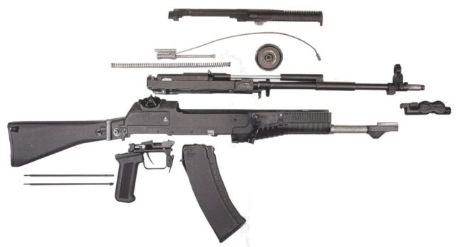 AN-94 rifle partially disassembled
