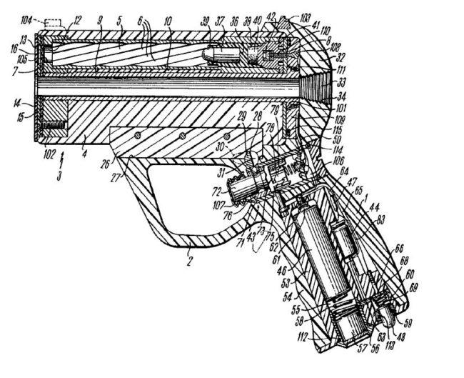 Подводный пистолет Хеклер Кох Heckler Koch HK P11. Схема из патента