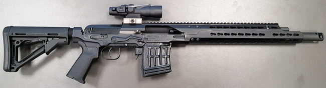 "SAG Civilian Tigr carbine with shortened to 15,7"" barrel, upgraded with chassis, adjustable gasblock, AR pistol grip and buffer tube adapter."