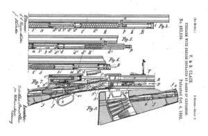 патент братьев Клэр на самозарядную винтовку с газоотводной автоматикой
