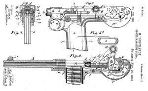 Borchardt's patent for his model 1893 recoil operated pistol.