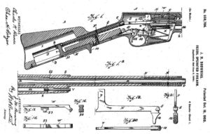 Browning's patent for his long recoil operated rifle (1900), which later became famous as Remington models 8 and 81.