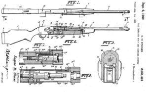 патент Стонера на систему с прямым газоотводом внутрь затворной рамы (ранний вариант с боковым расположением газовой трубки)