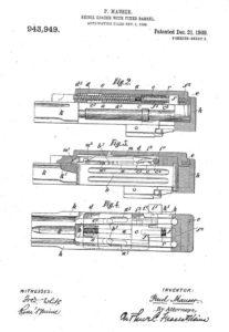 патент фирмы Маузер на винтовку с инерционным отпиранием затвора, 1908 год