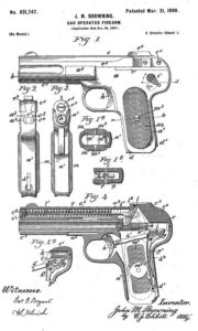 John Browning's patent for his first sucessful semi-automatic pistol, model FN 1900