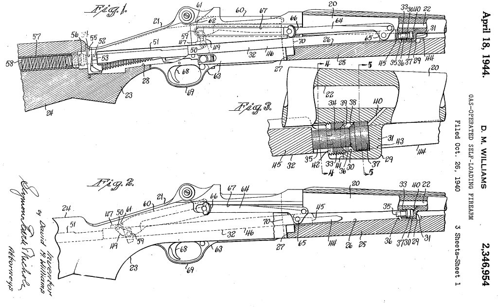 short stroke gas piston system, patented in 1940 by david williams, and  later used