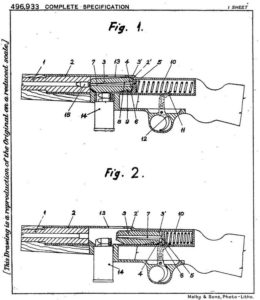 Diagram of the early blowback-operated submachine gun with bolt located behind the barrel