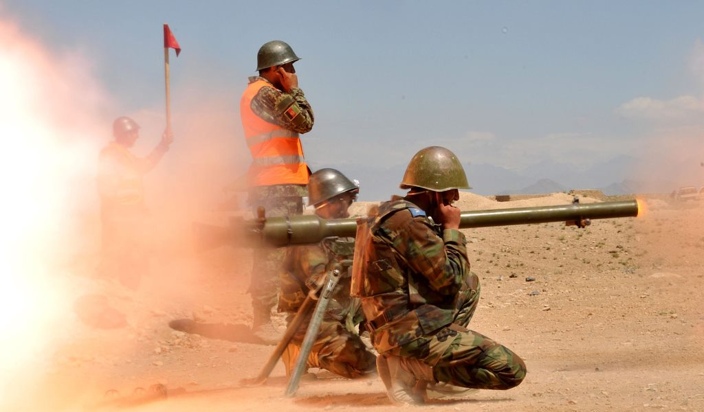 SPG-9 grenade launcher in action, present day, somewhere in Middle East