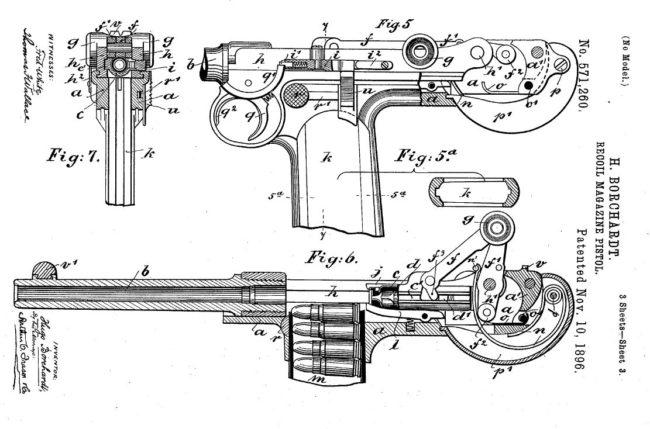 Borchardt C-93 pistol patent diagram