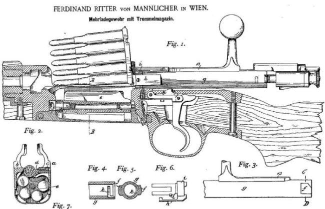 схема устройства винтовки Mannlicher-Schoenauer