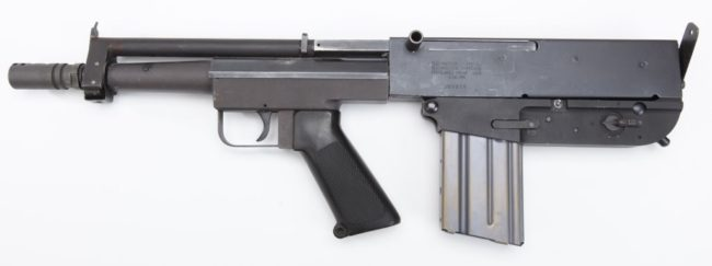 Bushmaster Arm Pistol, 4th version with safety behind the magazine housing on the left (not visible) and new style upper receiver with side charging handle
