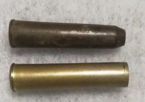 патрон 7.62мм Наган для ППТ-27 (вверху) в сравнении с обычным патроном для револьвера Наган