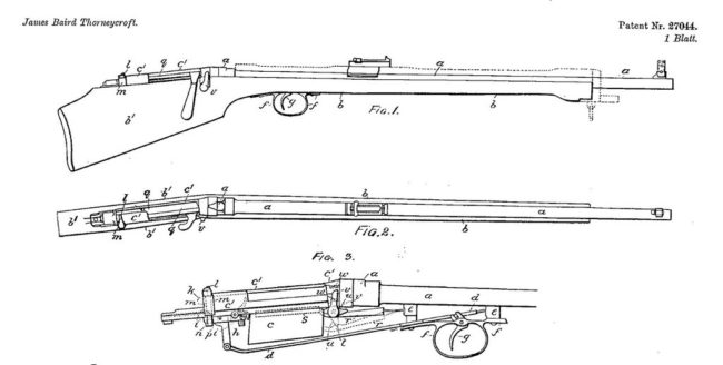 patent diagram for Thorneycroft bullpup rifle