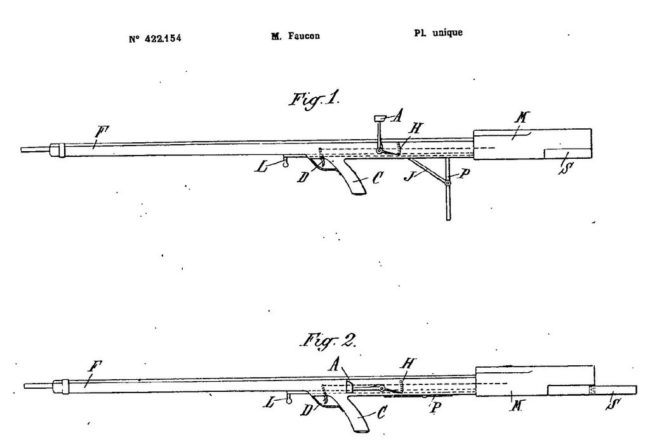 "diagram from patent issued to Faucon for his ""balanced rifle"" (1911)"