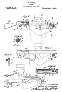 diagrams from patent, issued to Fordyce for his work on bullpup machine guns (1918)