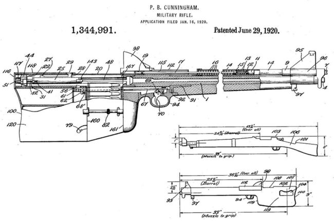 "patent diagram showing layout of the Cunningham's ""military rifle"" (1920)"