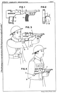 diagrams from patent of H.Delacre, showing his concept of bullpup submachine gun (1937)