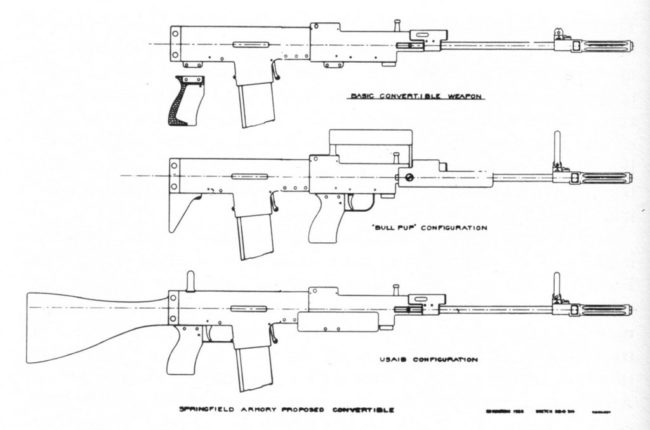 early drawing of the modular SPIW rifle by Springfield armory, USA, 1964