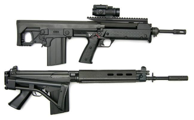 "7.62мм винтовка Kel-tec RFB в компоновке буллпап в сравнении с ""классической"" винтовкой FN FAL под тот же патрон"