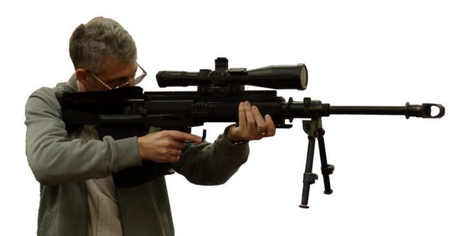 author of this site with Hungarian GM-6 large bullpup sniper caliber rifle