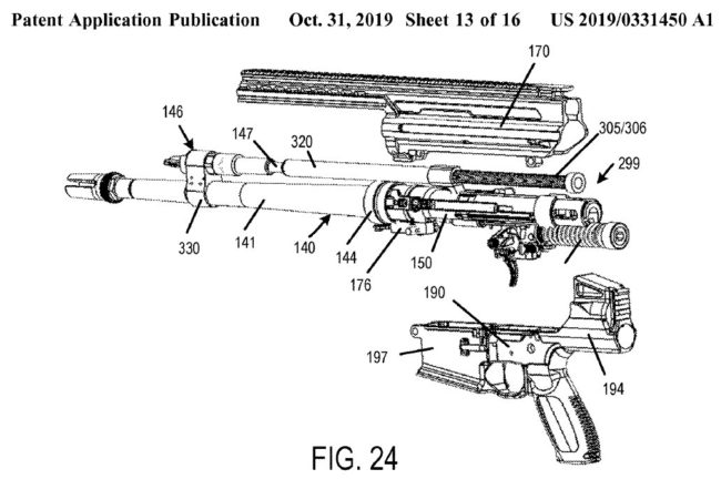 patent diagram showing recoil attenuation arrangement in rifle, by SIG Sauer