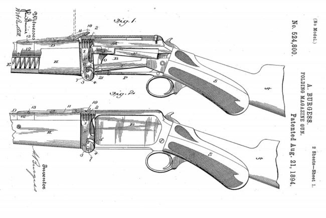 patent diagram for folding system of the Burgess Police gun