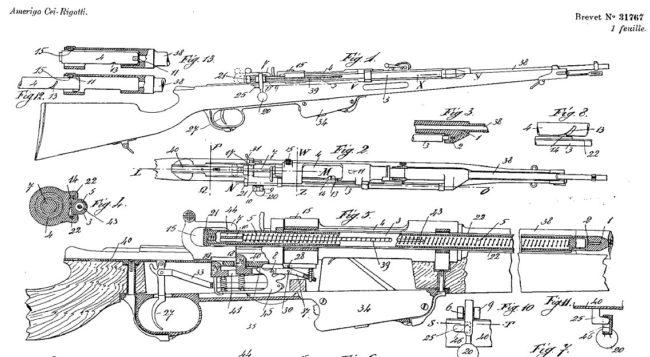 Patent diagram for Cei-Rigotti rifle